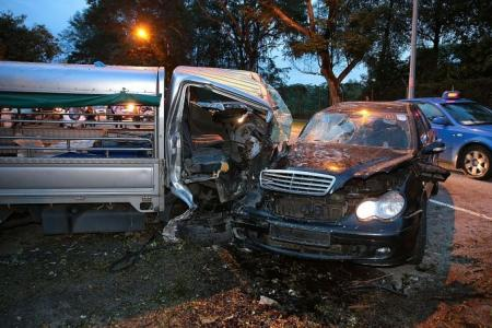 Two men rescued after horrific crash in Mandai