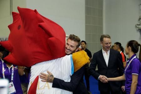 David Beckham surprises para athletes in Singapore