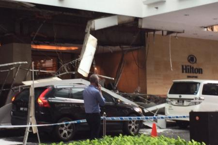 Roof of driveway at Hilton Singapore collapses