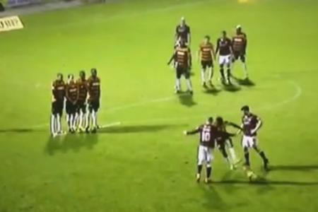 WATCH: How not to defend a free kick