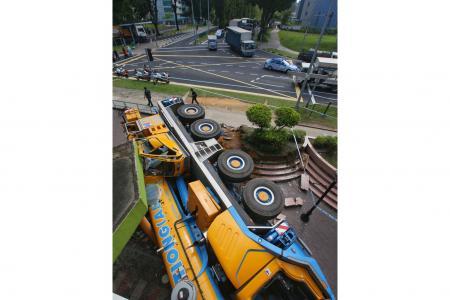 43-tonne mobile crane crashes into POSB branch