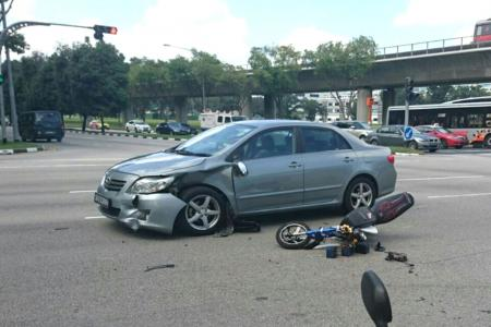Teens on motorised bicycle land on car windscreen after crash