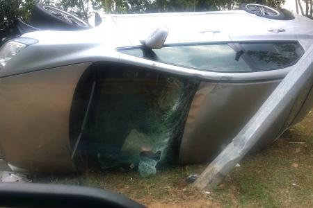 Cars overturn on ECP, Seletar West Link