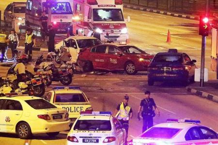 7 hurt in 4-car crash after chase in Bedok