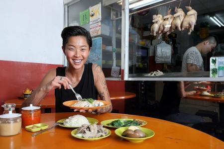 Top Chef winner Kristen Kish chows down on chicken rice