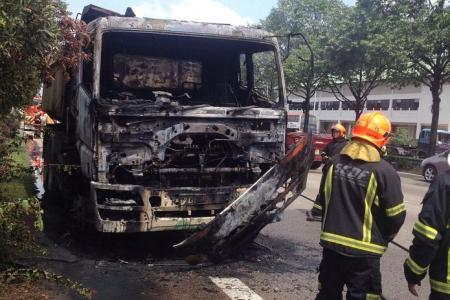 Towed truck bursts into flames on AYE