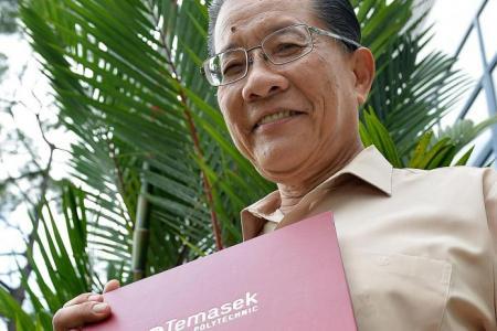 At 70, he has 5 diplomas, 3 bachelor's, 1 master's