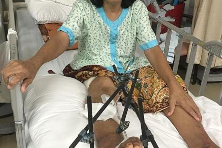 She can't walk, but worries for hubby