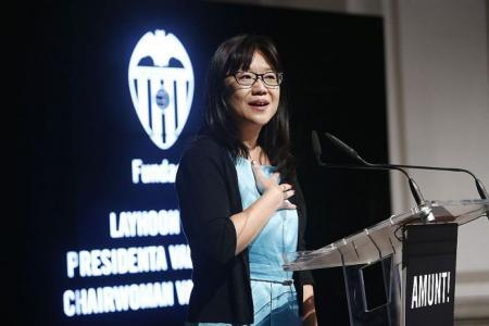Valencia president Chan Lay Hoon talks to David Lee