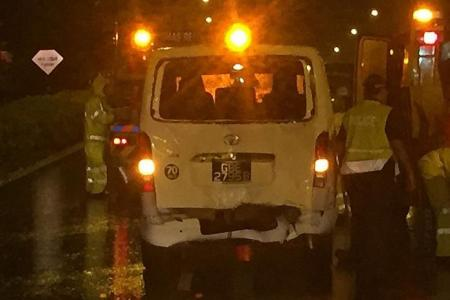 Ambulance taking teen to hospital collides with van on PIE.