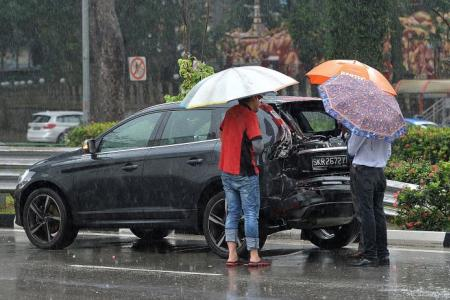 Cabby hurt in five-vehicle pile-up at West Coast highway