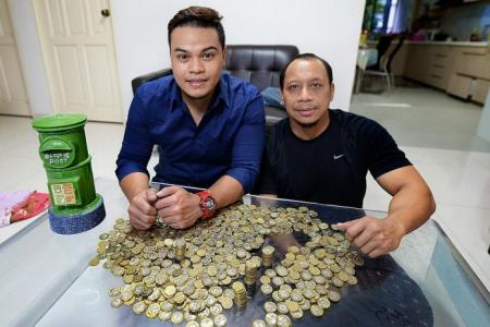 He saves 6,000 $1 coins in 2 years