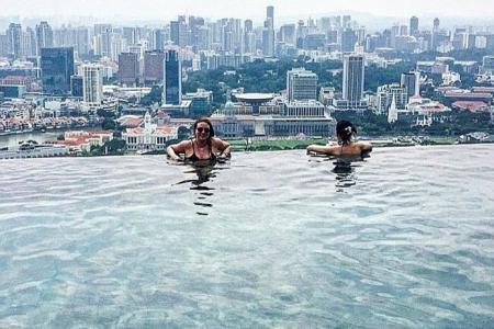 Backpackers sneak into Marina Bay Sands' infinity pool