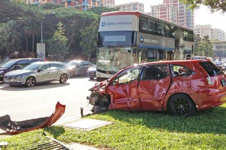 Car collides with bus in Eunos during morning rush hour