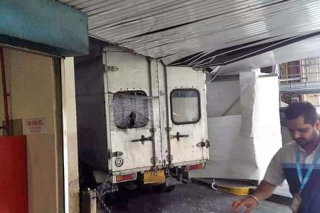 Lorry sparks 'rain' inside People's Park Centre