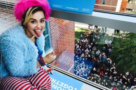 Miley supports Clinton with 'US flag' outfit