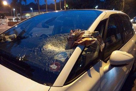 Rock smashes through GrabCar driver's windscreen