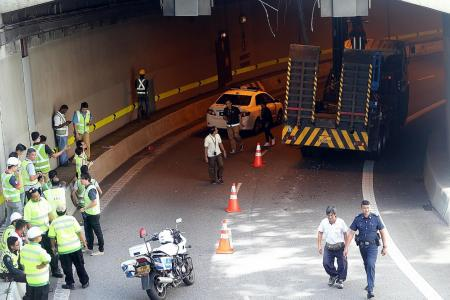Crane hits ceiling of 