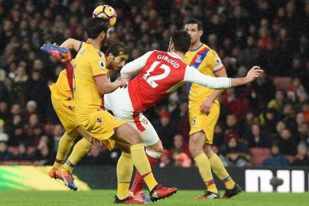 Arsenal's Olivier Giroud scores against Crystal Palace