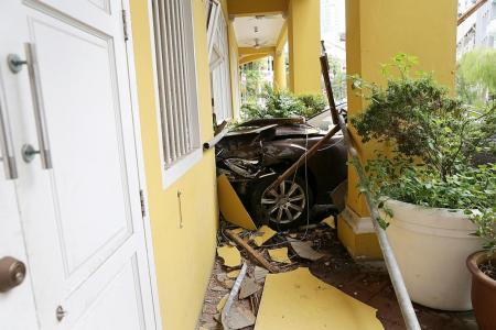 Man in his 80s crashes Mercedes into eatery