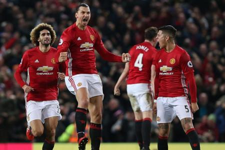 Manchester United's Zlatan Ibrahimovic celebrates scoring against Liverpool at Old Trafford Stadium
