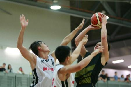 Andy Ho (#37) had a team-high 11 points. NTU (white) defeated SIM 58-46 to win the IVP Basketball Championship.