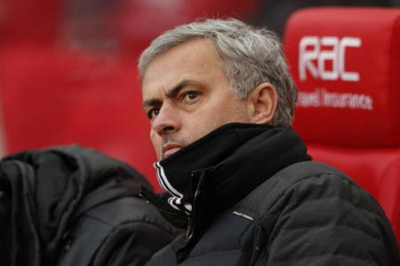 Manchester United manager Jose Mourinho reacts during the match against Stoke City.