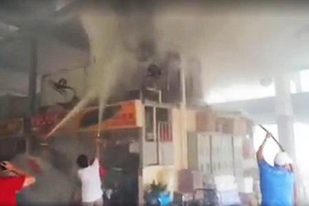 Public puts out fire