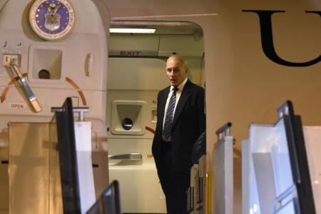 US Secretary of Homeland Security John Kelly arriving at the Guatemalan Air Force base in Guatemala City on Tuesday.