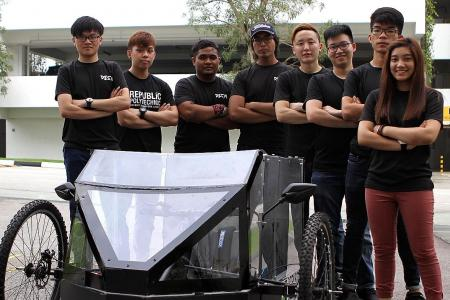 Poly students' eco-friendly car has bike engine, bicycle wheels
