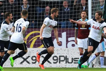 Tottenham Hotspur's English defender Eric Dier scores
