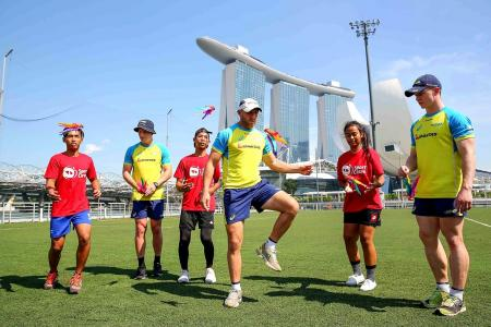 Australians rugby sevens players play capteh by The Bay