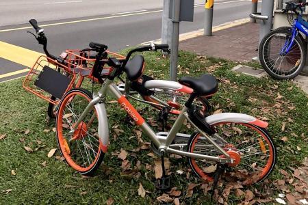 Bikes improperly parked, damaged