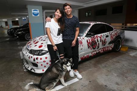 Car 'vandalised' in the name of love