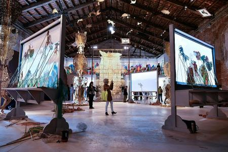 Forget world's woes at Biennale art festival