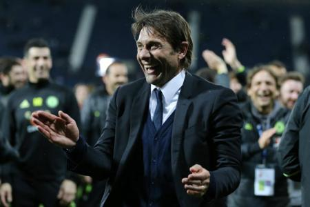 Chelsea manager Antonio Conte celebrates after winning the English Premier League
