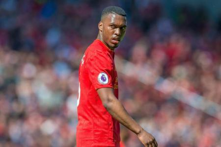 Daniel Sturridge reacts during the English Premier League soccer match between Liverpool FC and Southampton FC at Anfield in Liverpool, Britain, 07 May 2017