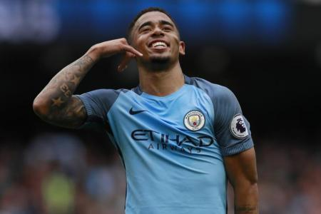 Manchester City's Gabriel Jesus celebrates scoring their second goal