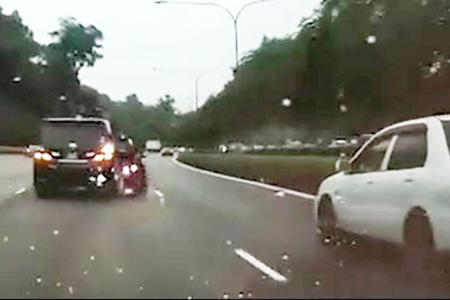 Motorcyclist hit by two cars, dragged for several metres