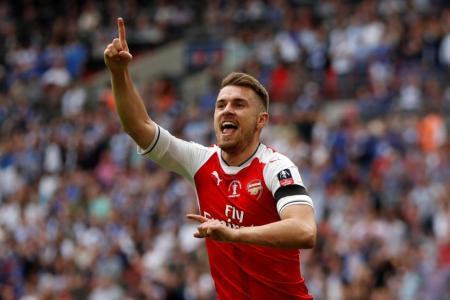 Aaron Ramsey celebrates scoring Arsenal's second goal