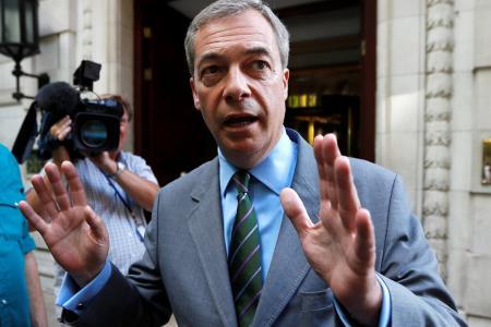 Former UKIP leader Nigel Farage leaves television studios in central London, Britain June 1, 2017