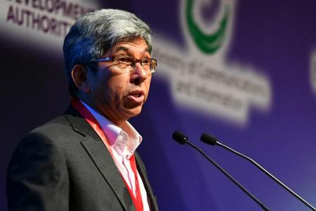 Minister Yaacob Ibrahim giving the welcome remarks at the opening of the Ministerial Forum on Infocomm Media (ICM) at Marina Bay Sands Expo and Convention Centre on May 22, 2017.