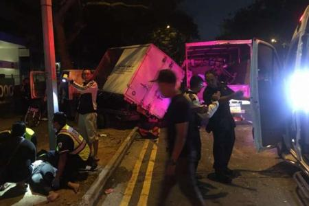 The collision involve two cars and two lorries happened along Woodlands Avenue 5 shortly before 6am