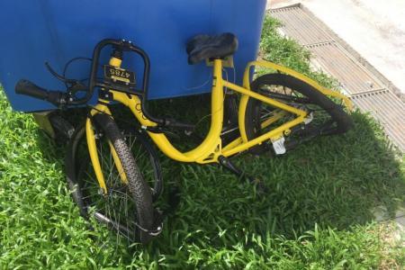 Bike thrown from block found at Jalan Tenteram