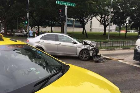 Mother and 2-year-old daughter taken to hospital after car hits taxi in Paya Lebar