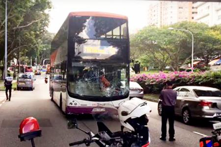 Bus ends up on wrong side of road