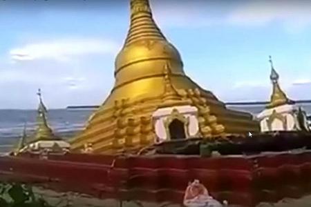 Heavy rain destroys pagoda
