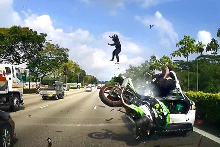 Certis Cisco officers flung off bike in SLE accident