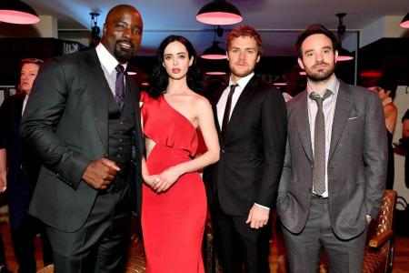 Mike Colter, Krysten Ritter, Finn Jones and Charlie Cox at The Defenders New York Premiere after party last Monday.
