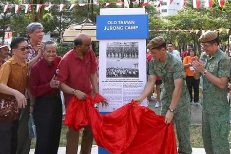 Heritage marker at Singapore's first NS camp